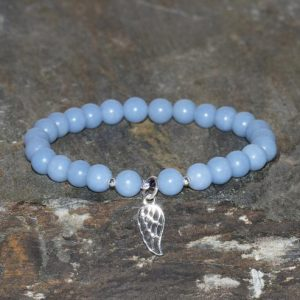 Shop Angelite Jewelry! Angelite Bracelet, 6mm Blue Peruvian Angelite Beaded Bracelet, Natural Gemstone, Wrist Mala Beads Yoga Bracelets, Silver Angel Wing Bracelet | Natural genuine Angelite jewelry. Buy crystal jewelry, handmade handcrafted artisan jewelry for women.  Unique handmade gift ideas. #jewelry #beadedjewelry #beadedjewelry #gift #shopping #handmadejewelry #fashion #style #product #jewelry #affiliate #ad