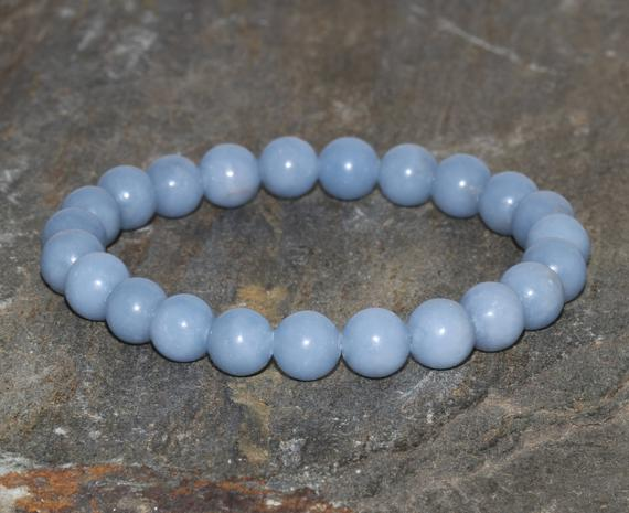 8mm Angelite Stacking Bracelet, Peru Gem, Throat Chakra Crystals, Spiritual Guidance-connect With Guardian Angels-dreamwork & Lucid Dreaming