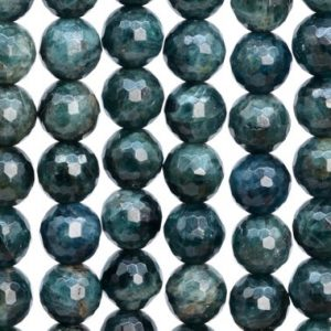 Shop Apatite Faceted Beads! 38 / 19 Pcs – 10MM Deep Blue Green Apatite Beads Madagascar Grade AA Genuine Natural Micro Faceted Round Gemstone Loose Beads (107114)   Natural genuine faceted Apatite beads for beading and jewelry making.  #jewelry #beads #beadedjewelry #diyjewelry #jewelrymaking #beadstore #beading #affiliate #ad