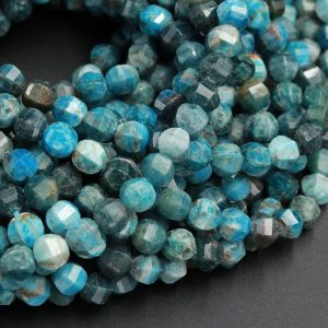 """Shop Apatite Faceted Beads! Geometric Lantern Faceted Natural Teal Blue Apatite 7mm 8mm Round Beads Sparkling Gemstone Good For Earring Pair Bead 16"""" Strand 