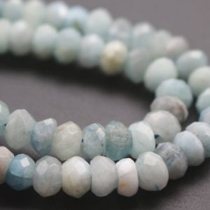 Shop Aquamarine Faceted Beads! 5x8mm AA Aquamarine Faceted Rondelle Beads,Natural Aquamarine Beads,15 inches one starand | Natural genuine faceted Aquamarine beads for beading and jewelry making.  #jewelry #beads #beadedjewelry #diyjewelry #jewelrymaking #beadstore #beading #affiliate #ad