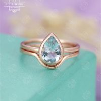 Aquamarine Engagement Ring Rose Gold Curved Wedding Band Women Pear Shaped Bridal Jewelry Simple Plain Gold Ring Anniversary Gift For Her | Natural genuine Gemstone jewelry. Buy handcrafted artisan wedding jewelry.  Unique handmade bridal jewelry gift ideas. #jewelry #beadedjewelry #gift #crystaljewelry #shopping #handmadejewelry #wedding #bridal #jewelry #affiliate #ad