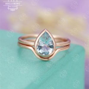 Aquamarine engagement ring Rose gold Curved wedding band Women Pear Shaped Bridal  Simple Plain gold ring Anniversary | Natural genuine Array rings, simple unique alternative gemstone engagement rings. #rings #jewelry #bridal #wedding #jewelryaccessories #engagementrings #weddingideas #affiliate #ad