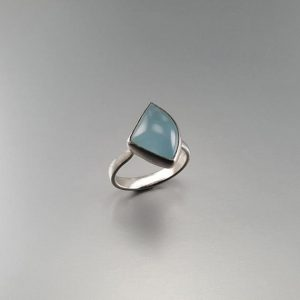 Natural cabochon Aquamarine with Sterling silver Ring – gift idea – milky blue – modern triangle design – natural gemstone – artisan jewelry | Natural genuine Array jewelry. Buy crystal jewelry, handmade handcrafted artisan jewelry for women.  Unique handmade gift ideas. #jewelry #beadedjewelry #beadedjewelry #gift #shopping #handmadejewelry #fashion #style #product #jewelry #affiliate #ad