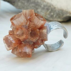 Shop Aragonite Rings! Aragonite Stone Ring, Antique Silver Color Ring, Adjustable Aragonite Stone, Antique Silver Color Ring | Natural genuine Aragonite rings, simple unique handcrafted gemstone rings. #rings #jewelry #shopping #gift #handmade #fashion #style #affiliate #ad