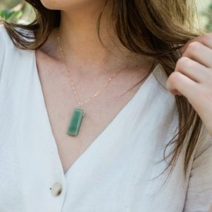 Shop Aventurine Necklaces! Aventurine Necklace – Polished Rectangle Aventurine Necklace – Natural Aventurine Necklace – Small / Large Green Aventurine Crystal Necklace | Natural genuine Aventurine necklaces. Buy crystal jewelry, handmade handcrafted artisan jewelry for women.  Unique handmade gift ideas. #jewelry #beadednecklaces #beadedjewelry #gift #shopping #handmadejewelry #fashion #style #product #necklaces #affiliate #ad