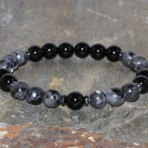 Shop Black Tourmaline Bracelets! Larvikite With Black Tourmaline Stretch Bracelet. Chakra Bracelet. Shield Negative Energy. Grounding. Absorb Computer Radiation. Absorb Emf. | Natural genuine Black Tourmaline bracelets. Buy crystal jewelry, handmade handcrafted artisan jewelry for women.  Unique handmade gift ideas. #jewelry #beadedbracelets #beadedjewelry #gift #shopping #handmadejewelry #fashion #style #product #bracelets #affiliate #ad