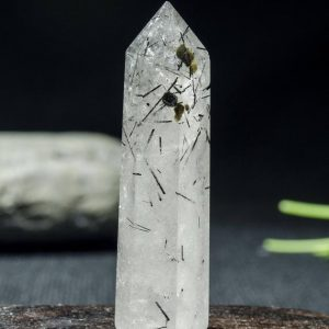Shop Black Tourmaline Points & Wands! Rare Natural Clear Black Rutilated Quartz Tower Mica Included/Black Tourmaline Point/Rutilated Crystal Collection/Crystal Gift15*14*53m#2416 | Natural genuine stones & crystals in various shapes & sizes. Buy raw cut, tumbled, or polished gemstones for making jewelry or crystal healing energy vibration raising reiki stones. #crystals #gemstones #crystalhealing #crystalsandgemstones #energyhealing #affiliate #ad