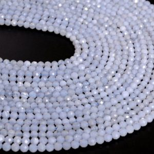 "Shop Blue Lace Agate Beads! 4MM Blue Lace Agate Beads Grade AA Genuine Natural Gemstone Half Strand Faceted Round Loose Beads 7.5"" Bulk Lot Options (107695h-2508) 