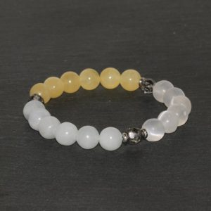 Shop Calcite Bracelets! Spirituality, Creativity & Protective Bracelet, White, Yellow and Blue Calcite Beads, 8mm Beaded Bracelet, Wrist Mala Beads, Healing Jewelry | Natural genuine Calcite bracelets. Buy crystal jewelry, handmade handcrafted artisan jewelry for women.  Unique handmade gift ideas. #jewelry #beadedbracelets #beadedjewelry #gift #shopping #handmadejewelry #fashion #style #product #bracelets #affiliate #ad