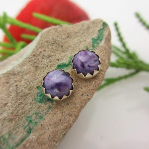 Shop Charoite Earrings! Charoite Stud Earrings | 14k Gold Or Silver Minimal Modern Ear Studs | For Men Or Women | Small Bridal Earrings | Natural genuine Charoite earrings. Buy handcrafted artisan wedding jewelry.  Unique handmade bridal jewelry gift ideas. #jewelry #beadedearrings #gift #crystaljewelry #shopping #handmadejewelry #wedding #bridal #earrings #affiliate #ad