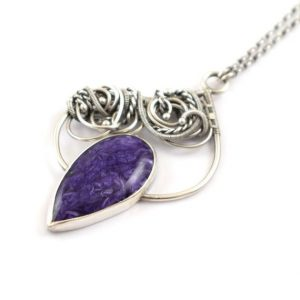 Shop Charoite Pendants! Purple Charoite Silver Necklace, Wire Wrapped Pendant, Elven Jewelry | Natural genuine Charoite pendants. Buy crystal jewelry, handmade handcrafted artisan jewelry for women.  Unique handmade gift ideas. #jewelry #beadedpendants #beadedjewelry #gift #shopping #handmadejewelry #fashion #style #product #pendants #affiliate #ad