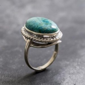 Shop Chrysocolla Rings! Chrysocolla Ring, Natural Chrysocolla, Statement Ring, Artistic Ring, Sagittarius Birthstone, Blue Ring, Sterling Silver Ring, Chrysocolla | Natural genuine Chrysocolla rings, simple unique handcrafted gemstone rings. #rings #jewelry #shopping #gift #handmade #fashion #style #affiliate #ad