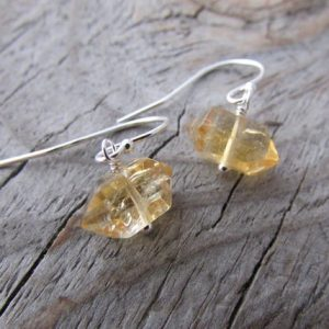 Shop Citrine Earrings! Citrine Earrings, small, herkimer diamond cut, double terminated citrine crystals, dangle earrings | Natural genuine Citrine earrings. Buy crystal jewelry, handmade handcrafted artisan jewelry for women.  Unique handmade gift ideas. #jewelry #beadedearrings #beadedjewelry #gift #shopping #handmadejewelry #fashion #style #product #earrings #affiliate #ad