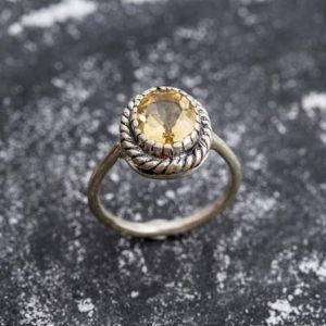 Shop Citrine Rings! Antique Citrine Ring, Natural Citrine, Vintage Yellow Rings, November Birthstone, Yellow Ring, November Ring, Solid Silver Ring, Citrine | Natural genuine Citrine rings, simple unique handcrafted gemstone rings. #rings #jewelry #shopping #gift #handmade #fashion #style #affiliate #ad