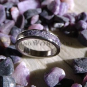 Shop Sugilite Rings! Dark Purple Sugilite (premier Love Stone) Ring And Titanium, Wedding Band, Engagement Ring, Titanium Ring, Gift | Natural genuine Sugilite rings, simple unique alternative gemstone engagement rings. #rings #jewelry #bridal #wedding #jewelryaccessories #engagementrings #weddingideas #affiliate #ad