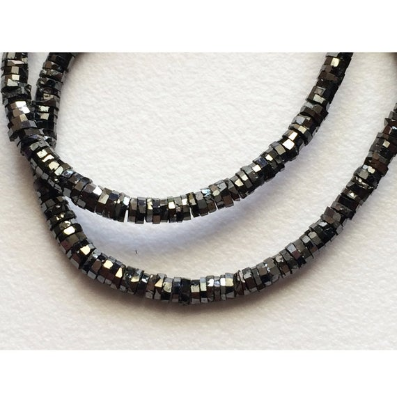 1.5mm To 3.5mm Black Sparkling Faceted Disc Diamonds, Black Tyre Diamond Beads, Conflict Free Diamonds For Jewelry (4in To 16in Options)
