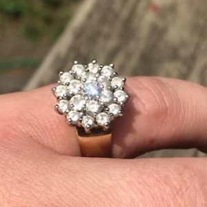 Sale, 14 k White and Yellow Gold with Diamonds, Engagement Ring, Size 7.5 | Natural genuine Gemstone rings, simple unique alternative gemstone engagement rings. #rings #jewelry #bridal #wedding #jewelryaccessories #engagementrings #weddingideas #affiliate #ad