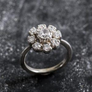Shop Diamond Rings! Vintage Engagement Ring, Vintage Flower, Vintage Diamond Ring, Cz Diamonds, 2 Carats Diamonds, Antique Ring, Solid Silver Ring, Pure Silver | Natural genuine Diamond rings, simple unique alternative gemstone engagement rings. #rings #jewelry #bridal #wedding #jewelryaccessories #engagementrings #weddingideas #affiliate #ad