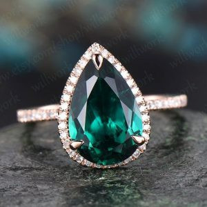 Shop Emerald Engagement Rings! 8x12mm emerald engagement ring rose gold diamond halo ring big emerald ring gold unique art deco pear antique wedding bridal promise ring | Natural genuine Emerald rings, simple unique alternative gemstone engagement rings. #rings #jewelry #bridal #wedding #jewelryaccessories #engagementrings #weddingideas #affiliate #ad