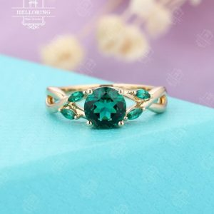 Emerald engagement ring Rose gold Women Wedding Marquise cut Unique ring Jewelry Anniversary  Twisted band Prong set Five stones | Natural genuine Gemstone rings, simple unique alternative gemstone engagement rings. #rings #jewelry #bridal #wedding #jewelryaccessories #engagementrings #weddingideas #affiliate #ad