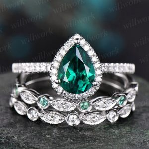Green Emerald Engagement Ring Set White Gold Natural Emerald Wedding Band Diamond Halo Ring Gift Matching Promise Bridal Ring Set For Her | Natural genuine Gemstone rings, simple unique alternative gemstone engagement rings. #rings #jewelry #bridal #wedding #jewelryaccessories #engagementrings #weddingideas #affiliate #ad