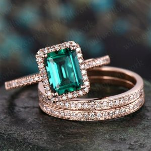 Green Emerald Engagement Ring Set 14k Rose Gold Diamond Halo Ring Stacking Matching Band Vintage Unique Gift Bridal Wedding Promise Ring | Natural genuine Gemstone rings, simple unique alternative gemstone engagement rings. #rings #jewelry #bridal #wedding #jewelryaccessories #engagementrings #weddingideas #affiliate #ad