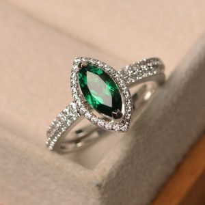 Lab Emerald Ring, Silver Engagement Ring, May Birthstone, Marquise Cut Halo Ring, Set Rings For Wedding | Natural genuine Array rings, simple unique alternative gemstone engagement rings. #rings #jewelry #bridal #wedding #jewelryaccessories #engagementrings #weddingideas #affiliate #ad
