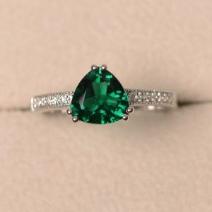 Lab Emerald Ring, Trillion Cut Engagement Ring, Sterling Silver | Natural genuine Emerald rings, simple unique alternative gemstone engagement rings. #rings #jewelry #bridal #wedding #jewelryaccessories #engagementrings #weddingideas #affiliate #ad