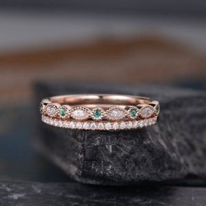 Natural Emerald Wedding Band Women Diamond Milgrain Marquise Art Deco Matching Band Half Eternity Bridal Promise Ring Delicate Anniversary | Natural genuine Gemstone rings, simple unique alternative gemstone engagement rings. #rings #jewelry #bridal #wedding #jewelryaccessories #engagementrings #weddingideas #affiliate #ad