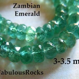 5-50 pcs / Zambian EMERALD Beads Rondelles / 3-3.5 mm, Luxe AAA / Emerald Gemstone / undyed, may birthstone brides bridal true 35 tr e | Natural genuine rondelle Emerald beads for beading and jewelry making.  #jewelry #beads #beadedjewelry #diyjewelry #jewelrymaking #beadstore #beading #affiliate #ad