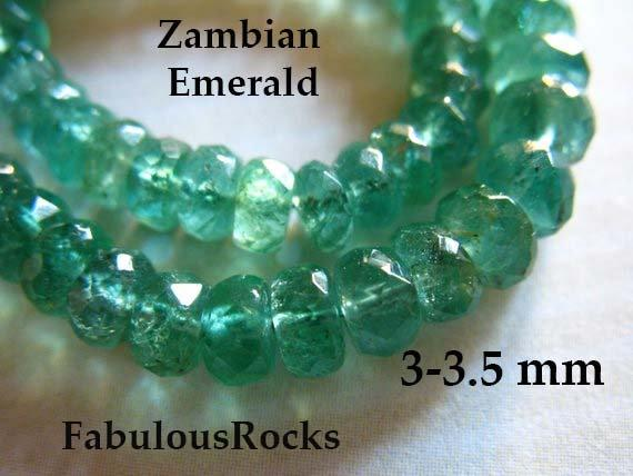 5-50 Pcs / Zambian Emerald Beads Rondelles / 3-3.5 Mm, Luxe Aaa / Emerald Gemstone / Undyed, May Birthstone Brides Bridal True 35 Tr E