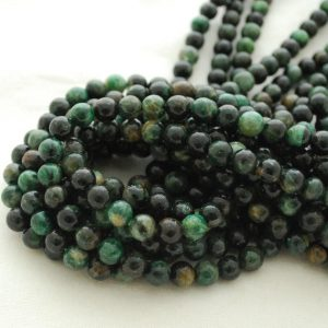 "Shop Emerald Beads! High Quality Grade A Natural Emerald in Fuchsite Semi-precious Gemstone Round Beads – 6mm, 8mm, 10mm sizes – Approx 15.5"" strand 