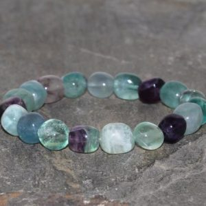 Shop Fluorite Bracelets! Coarse Fluorite Bracelet 9x10mm Free Form Round Beaded Bracelet Green Blue Purple Fluorite Bracelet Gemstone Bracelet Gift Stacking Bracelet | Natural genuine Fluorite bracelets. Buy crystal jewelry, handmade handcrafted artisan jewelry for women.  Unique handmade gift ideas. #jewelry #beadedbracelets #beadedjewelry #gift #shopping #handmadejewelry #fashion #style #product #bracelets #affiliate #ad
