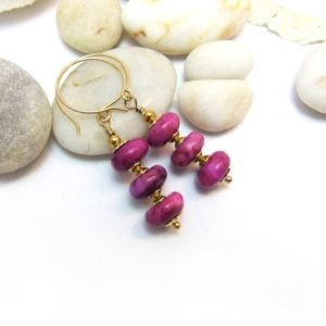 Shop Sugilite Earrings! Fuchsia Pink Sugilite Gemstone Bead drop earrings Handmade Gold filled ear hooks sugilite rondelle beads | Natural genuine Sugilite earrings. Buy crystal jewelry, handmade handcrafted artisan jewelry for women.  Unique handmade gift ideas. #jewelry #beadedearrings #beadedjewelry #gift #shopping #handmadejewelry #fashion #style #product #earrings #affiliate #ad