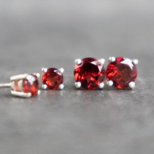 Shop Garnet Jewelry! Garnet Earrings, Red Garnet Stud Earrings, Garnet Jewelry, Sterling Silver Stud Earrings, January Birthstone Earrings, 4mm 6mm Earrings Stud | Natural genuine Garnet jewelry. Buy crystal jewelry, handmade handcrafted artisan jewelry for women.  Unique handmade gift ideas. #jewelry #beadedjewelry #beadedjewelry #gift #shopping #handmadejewelry #fashion #style #product #jewelry #affiliate #ad