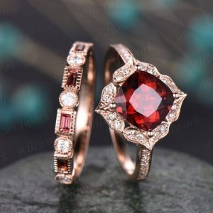 Shop Garnet Rings! 2pc red garnet engagement ring 14k rose gold garnet ring gold antique diamond halo ring garnet matching band January birthstone wedding ring | Natural genuine Garnet rings, simple unique alternative gemstone engagement rings. #rings #jewelry #bridal #wedding #jewelryaccessories #engagementrings #weddingideas #affiliate #ad