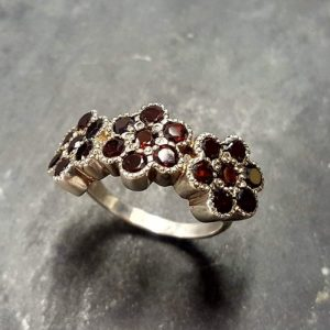 Shop Garnet Engagement Rings! Flower Band, Natural Garnet Ring, Vintage Ring, Red Flower Ring, Garnet Band, Wide Band, Red Flower Band, Three Flowers, Solid Silver Ring | Natural genuine Garnet rings, simple unique handcrafted gemstone rings. #rings #jewelry #shopping #gift #handmade #fashion #style #affiliate #ad