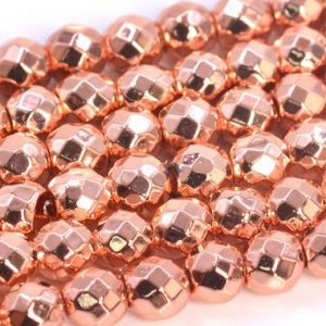 Shop Hematite Faceted Beads! 18k Rose Gold Tone Hematite Beads Grade AAA Natural Gemstone Faceted Round Loose Beads 4MM 6MM 8MM 9MM 11-12MM Bulk Lot Options | Natural genuine faceted Hematite beads for beading and jewelry making.  #jewelry #beads #beadedjewelry #diyjewelry #jewelrymaking #beadstore #beading #affiliate #ad