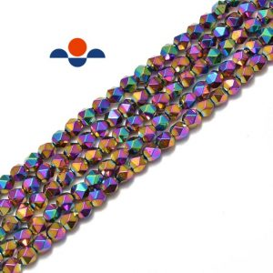"Shop Hematite Faceted Beads! Rainbow Plated Hematite Star Cut Nugget Beads 8mm 15.5"" Strand 
