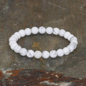6mm Howlite Bracelet, Wrist Mala Beads, Chakra Jewelry, Yoga Gift, Healing Crystals, Calming + Anger Releasing + Heightened Awareness | Natural genuine Howlite bracelets. Buy crystal jewelry, handmade handcrafted artisan jewelry for women.  Unique handmade gift ideas. #jewelry #beadedbracelets #beadedjewelry #gift #shopping #handmadejewelry #fashion #style #product #bracelets #affiliate #ad