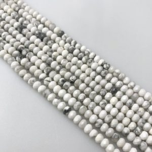 "Natural Howlite Faceted Rondelle Beads 3x4mm 15.5"" Strand 