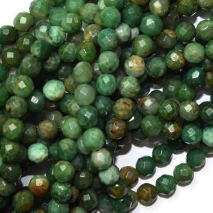 "Shop Jasper Faceted Beads! 6mm faceted green dragon blood jasper round beads 15.5"" strand 39784 