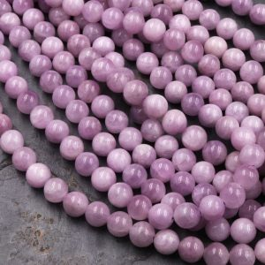 "Natural Kunzite 4mm 6mm 8mm 10mm Round Beads Soft Violet Purple Pink Gemstone Real Genuine Natural Kunzite 15.5"" Strand 