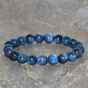Shop Kyanite Jewelry! Kyanite Bracelet 8mm Grade Aaa Deep Blue High Grade Kyanite Beaded Natural Gemstone Bracelet Unisex Bracelet Intense Blue Stone Bracelet | Natural genuine Kyanite jewelry. Buy crystal jewelry, handmade handcrafted artisan jewelry for women.  Unique handmade gift ideas. #jewelry #beadedjewelry #beadedjewelry #gift #shopping #handmadejewelry #fashion #style #product #jewelry #affiliate #ad