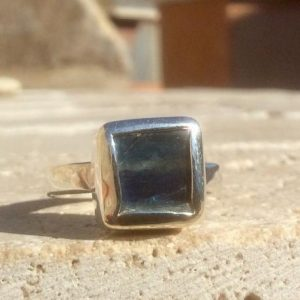 Shop Kyanite Rings! Raw Kyanite Silver Ring, Rough Natural Gemstone Silver Ring, Raw Blue Stone Womens Ring | Natural genuine Kyanite rings, simple unique handcrafted gemstone rings. #rings #jewelry #shopping #gift #handmade #fashion #style #affiliate #ad