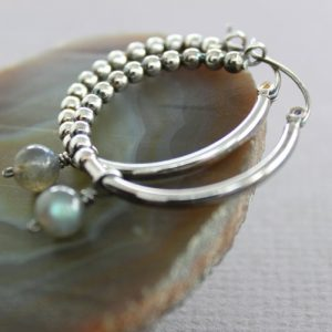 Shop Labradorite Earrings! Sterling silver hoop earrings with labradorite dangle, Dangle earrings, Beaded hoops, Labradorite earrings, Gemstone earrings – ER152 | Natural genuine Labradorite earrings. Buy crystal jewelry, handmade handcrafted artisan jewelry for women.  Unique handmade gift ideas. #jewelry #beadedearrings #beadedjewelry #gift #shopping #handmadejewelry #fashion #style #product #earrings #affiliate #ad