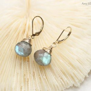 Labradorite Earrings, Wire Wrap, Gold Filled, Labradorite Jewelry, Blue Flash, Gemstone Earrings | Natural genuine Gemstone earrings. Buy crystal jewelry, handmade handcrafted artisan jewelry for women.  Unique handmade gift ideas. #jewelry #beadedearrings #beadedjewelry #gift #shopping #handmadejewelry #fashion #style #product #earrings #affiliate #ad