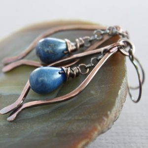 Shop Lapis Lazuli Earrings! Marquise Lapis Lazuli Copper Earrings With Indigo Blue Lapis Lazuli Teardrop Stones – Drop Earrings – Chandelier Earrings – Er030 | Natural genuine Lapis Lazuli earrings. Buy crystal jewelry, handmade handcrafted artisan jewelry for women.  Unique handmade gift ideas. #jewelry #beadedearrings #beadedjewelry #gift #shopping #handmadejewelry #fashion #style #product #earrings #affiliate #ad