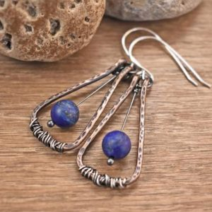 Shop Lapis Lazuli Earrings! Mixed Metal Lapis Lazuli Earrings, Rustic Hammered Copper Wire Jewelry, Artisan Sterling Silver, Dark Blue Gemstone Dangles | Natural genuine Lapis Lazuli earrings. Buy crystal jewelry, handmade handcrafted artisan jewelry for women.  Unique handmade gift ideas. #jewelry #beadedearrings #beadedjewelry #gift #shopping #handmadejewelry #fashion #style #product #earrings #affiliate #ad